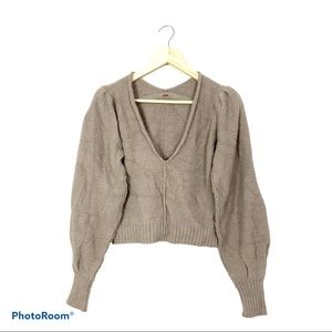 Free people puff sleeve crop soft sweater S
